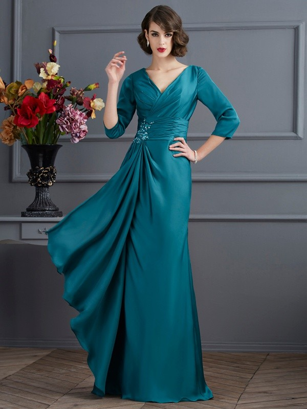 A-Line V-neck 3/4 Sleeves Beading Long Chiffon Dresses