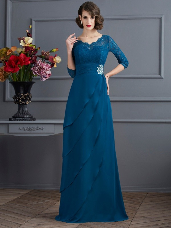 A-Line V-neck 3/4 Sleeves Long Chiffon Dresses