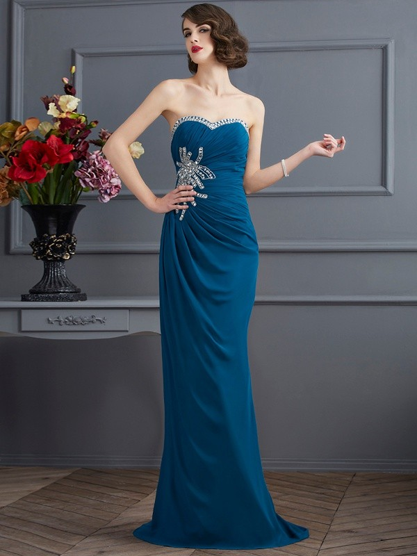 Sheath Sweetheart Sleeveless Long Chiffon Dresses