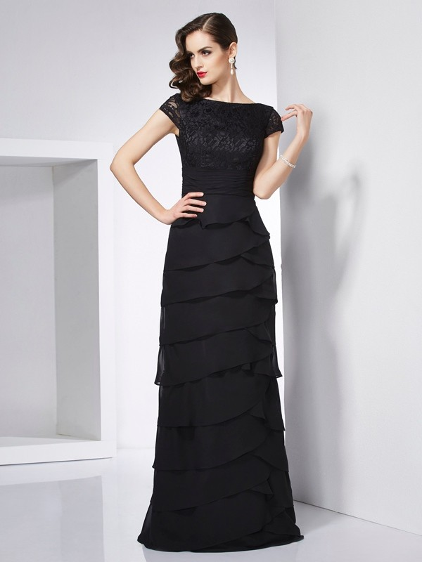 Sheath Scoop Short Sleeves Long Chiffon Dresses