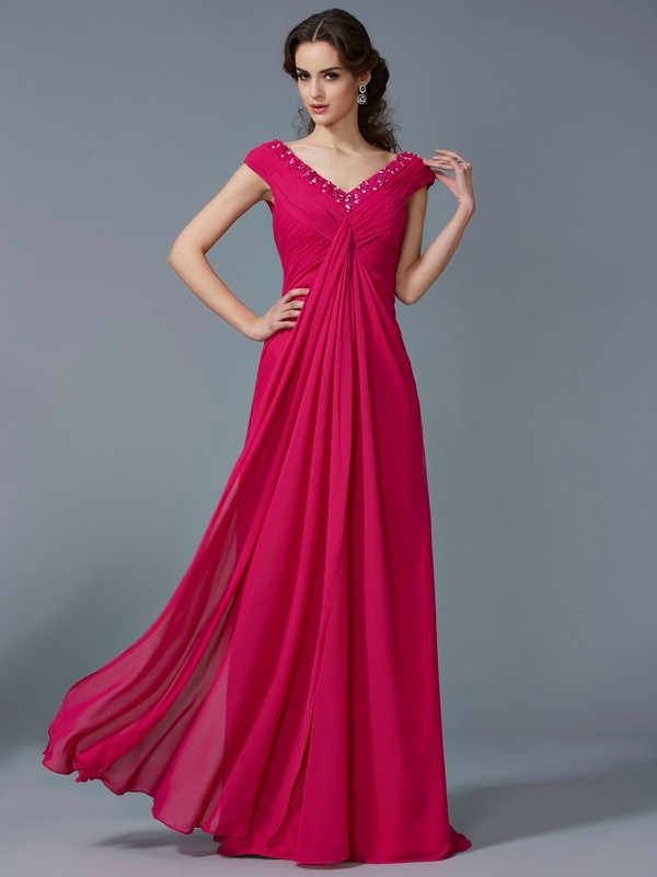 A-Line Beading V-neck Short Sleeves Long Chiffon Dresses