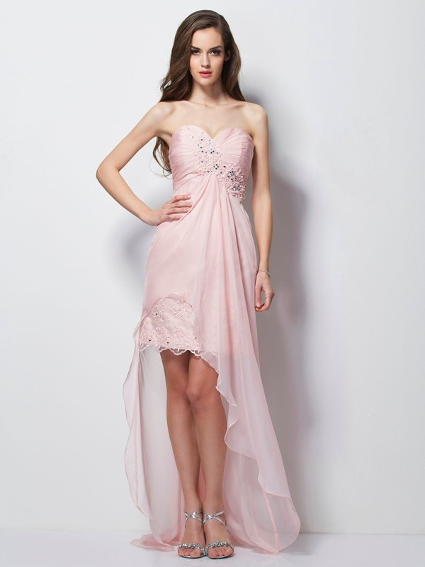 A-Line Sweetheart Sleeveless Beading Applique High Low Chiffon Dresses