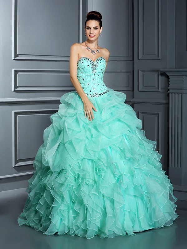 Ball Gown Sweetheart Beading Sleeveless Long Organza Debs Dress