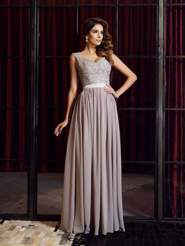 A-Line Straps Applique Sleeveless Long Chiffon Dresses