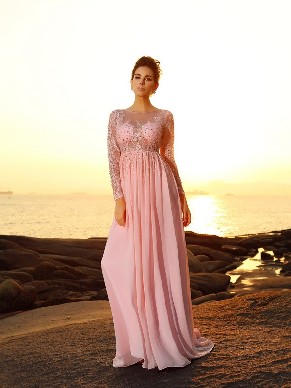 A-Line Bateau Beading Long Sleeves Long Chiffon Dresses