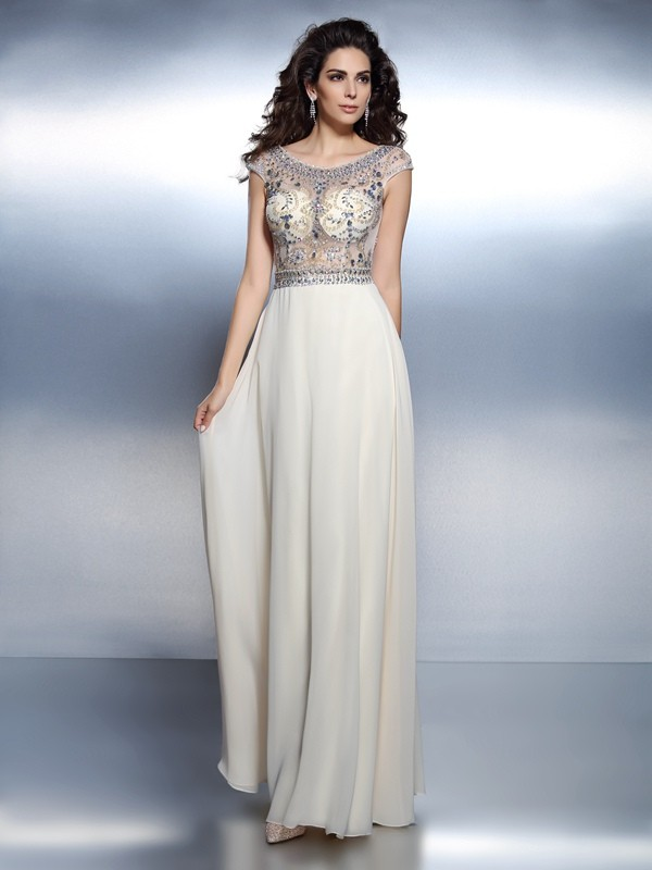 A-Line Bateau Beading Short Sleeves Long Chiffon Dresses