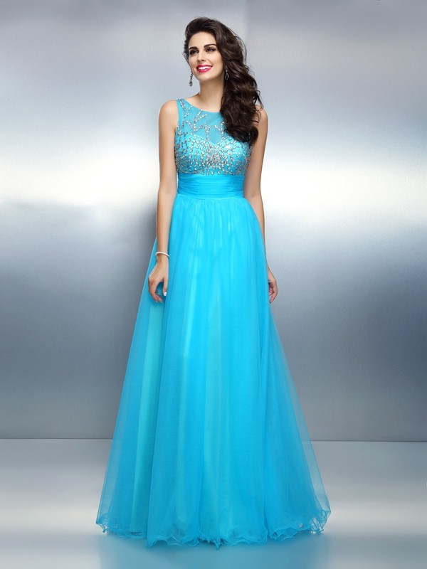 A-Line Bateau Beading Sleeveless Long Elastic Woven Satin Dresses