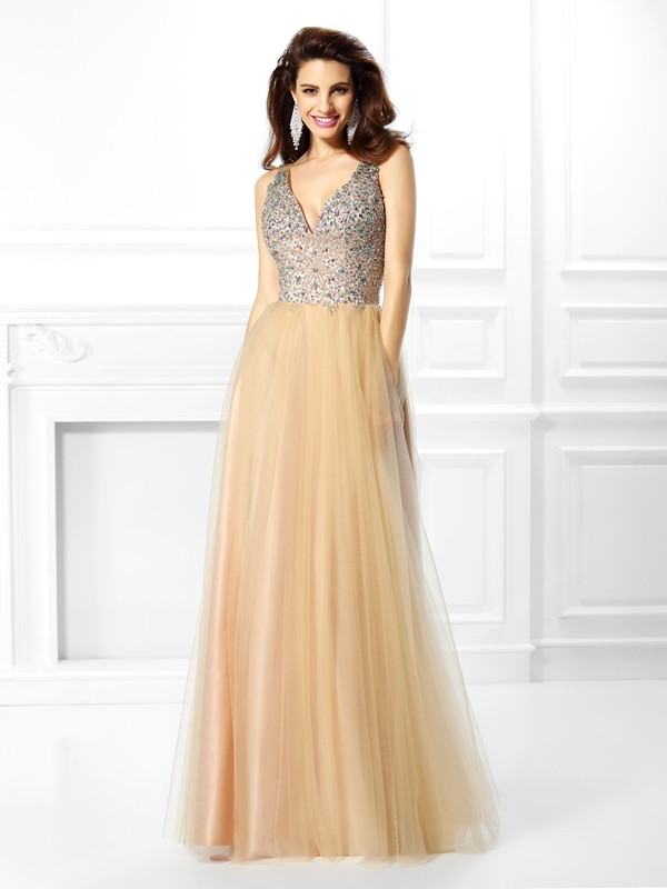 Ball Gown V-neck Beading Sleeveless Long Satin Debs Dress