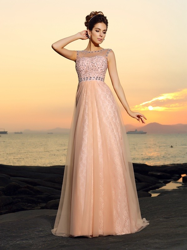A-Line Bateau Lace Sleeveless Long Chiffon Dresses