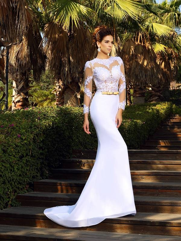 Sheath Scoop Applique Long Sleeves Long Satin Wedding Dresses