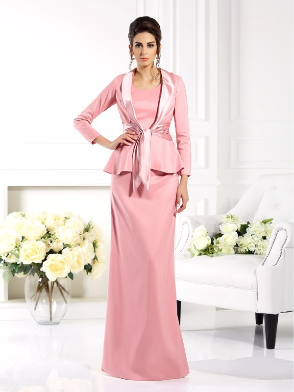 Sheath Square Sleeveless Long Elastic Woven Satin Dresses