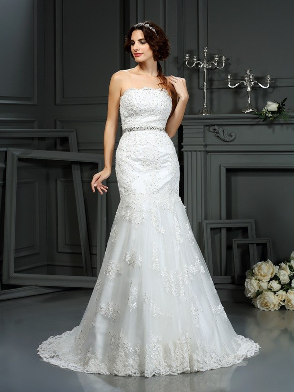 Mermaid Strapless Beading Sleeveless Long Lace Wedding Dresses