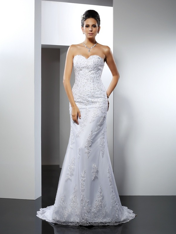 Mermaid Sweetheart Lace Sleeveless Long Satin Wedding Dresses