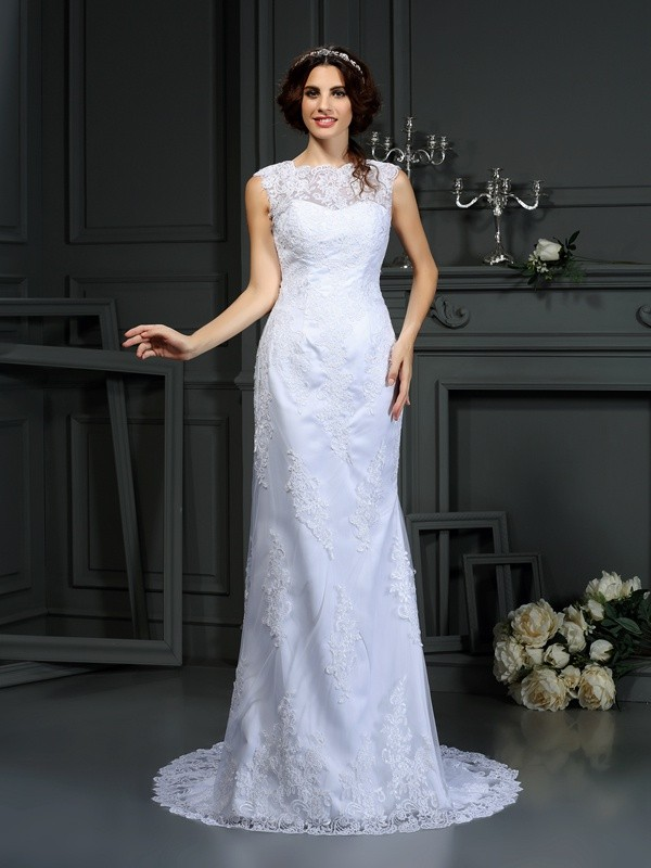 Sheath High Neck Lace Sleeveless Long Lace Wedding Dresses