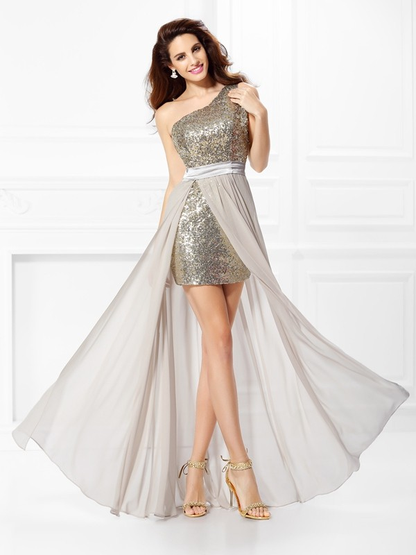 A-Line One-Shoulder Sequin Sleeveless Long Chiffon Dresses