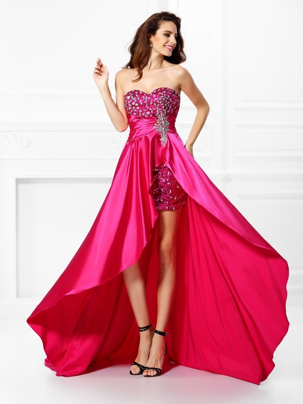 A-Line Sweetheart Beading Sleeveless High Low Elastic Woven Satin Dresses