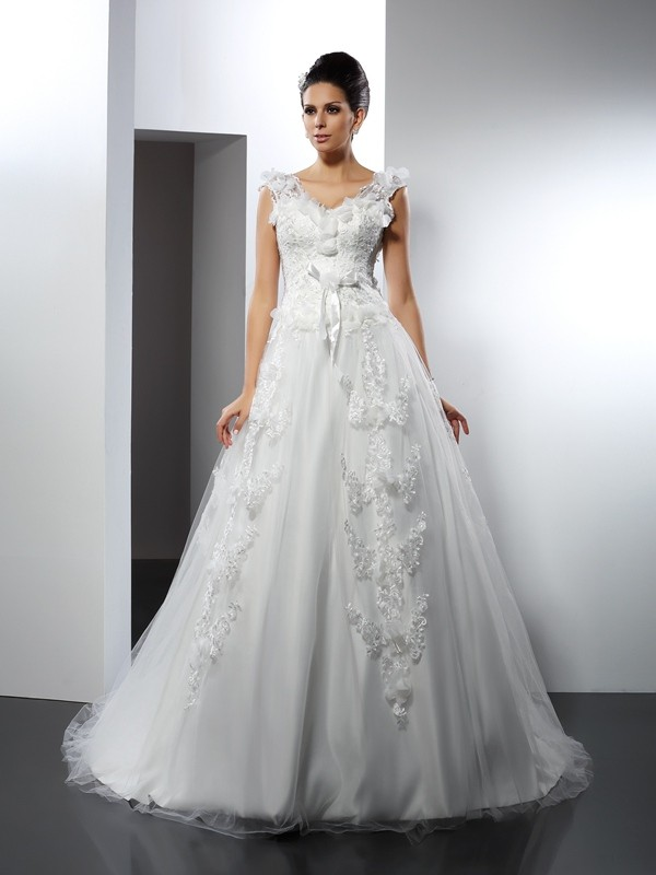 A-Line Straps Lace Sleeveless Long Satin Wedding Dresses