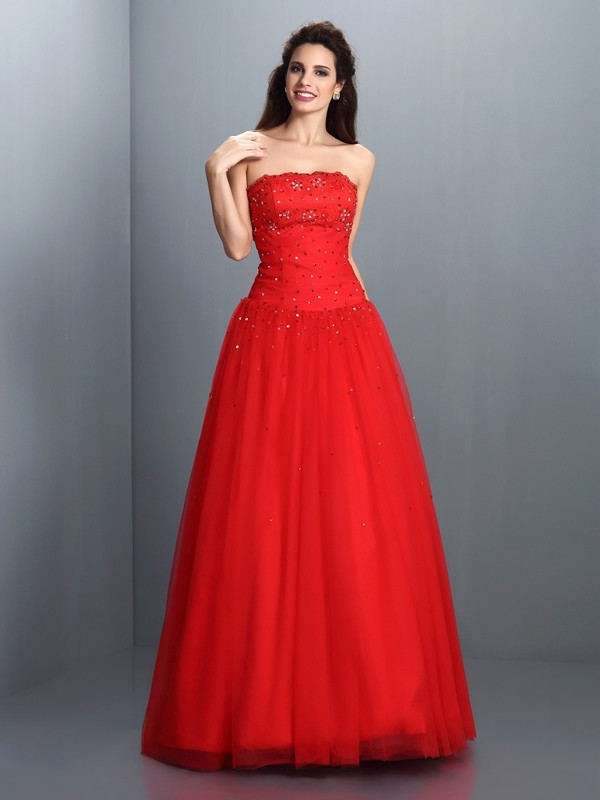 Ball Gown Strapless Beading Sleeveless Long Organza Debs Dress