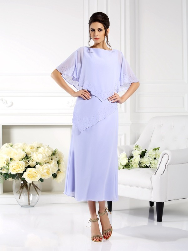 Sheath Bateau 1/2 Sleeves Long Chiffon Dresses