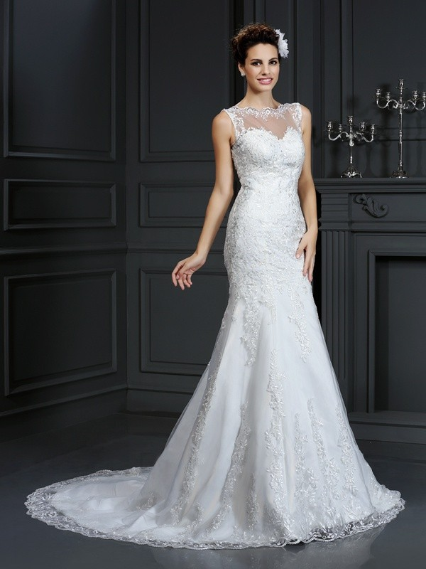 Sheath Bateau Lace Sleeveless Long Satin Wedding Dresses