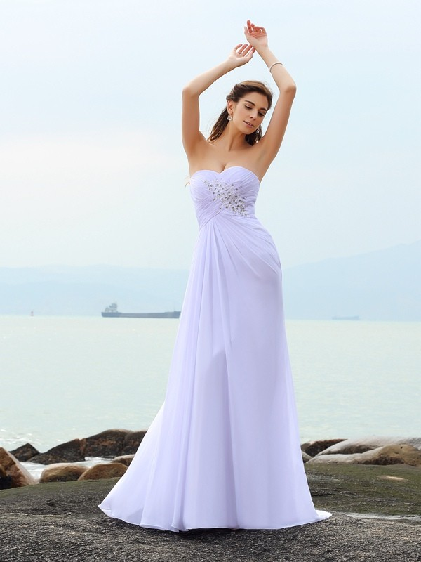 Sheath Sweetheart Beading Sleeveless Long Chiffon Beach Wedding Dresses