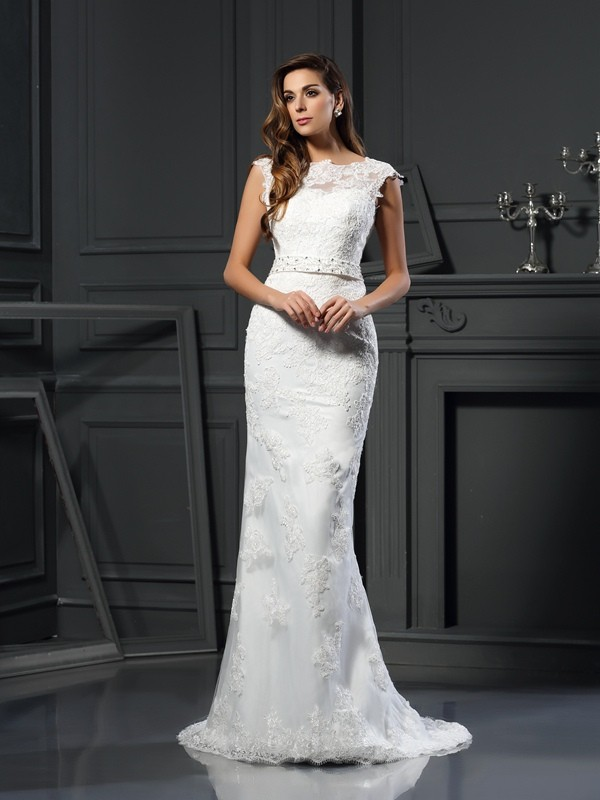 A-Line Bateau Lace Sleeveless Long Satin Wedding Dresses