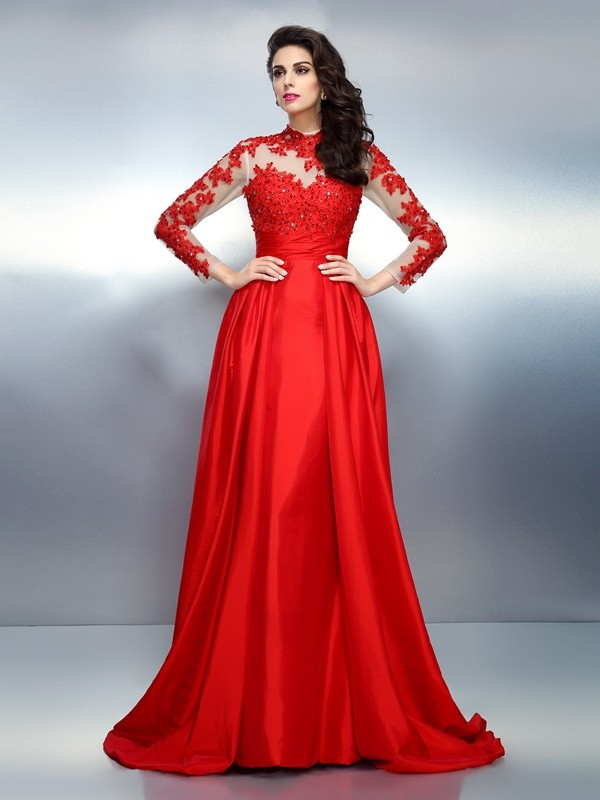 A-Line High Neck Applique Long Sleeves Long Satin Dresses