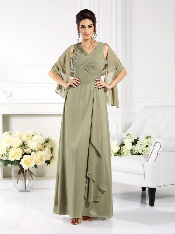 A-Line V-neck Pleats Sleeveless Long Chiffon Dresses