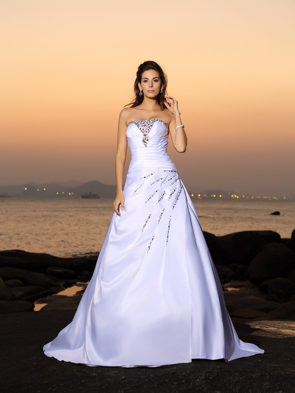 A-Line Strapless Beading Sleeveless Long Satin Beach Wedding Dresses