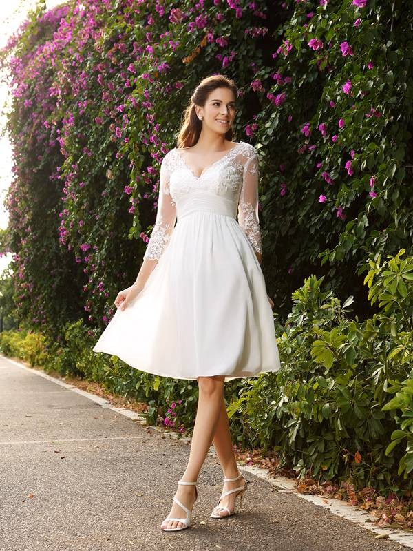Attractive A-Line V-neck 3/4 Sleeves Knee-Length Chiffon Wedding Dresses