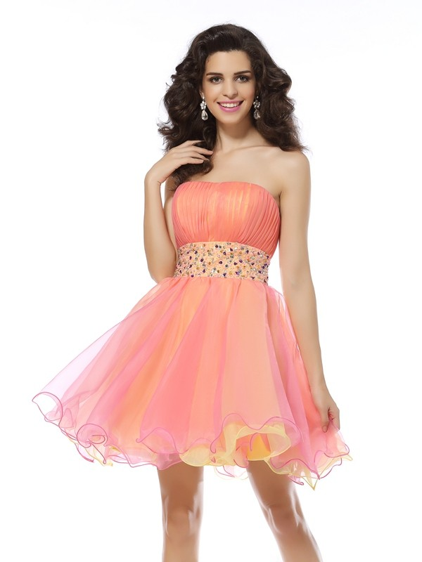 A-Line Strapless Beading Sleeveless Short Organza Cocktail Dresses