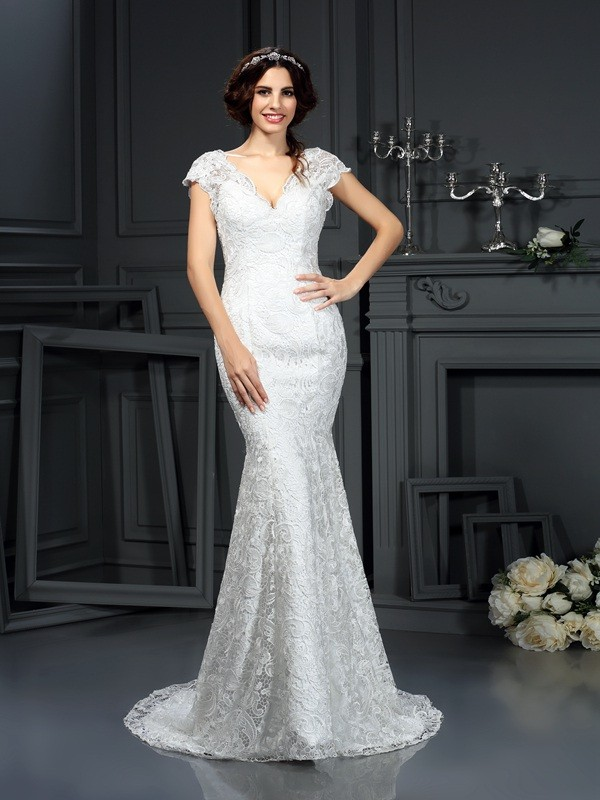 Mermaid V-neck Lace Sleeveless Long Lace Wedding Dresses