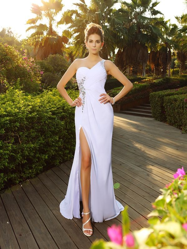 A-Line One-Shoulder Beading Sleeveless Long Chiffon Wedding Dresses