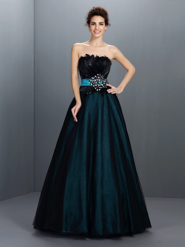 Ball Gown Strapless Feathers/Fur Sleeveless Long Elastic Woven Satin Debs Dress