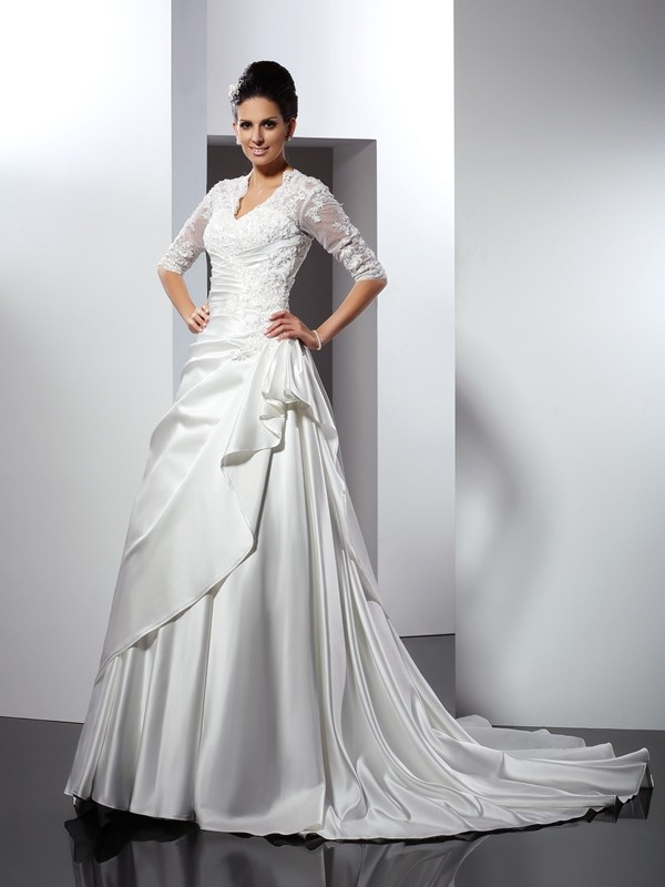 A-Line V-neck Applique 1/2 Sleeves Long Satin Wedding Dresses