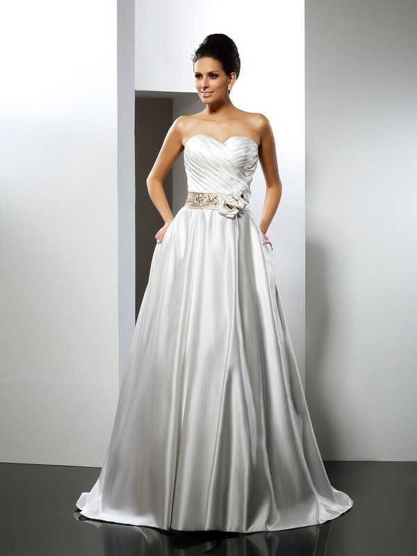 A-Line Sweetheart Hand-Made Flower Sleeveless Long Satin Wedding Dresses