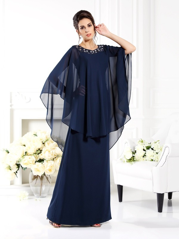A-Line Scoop 3/4 Sleeves Long Chiffon Dresses