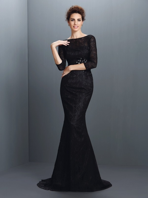 Mermaid Bateau Lace 3/4 Sleeves Long Elastic Woven Satin Dresses