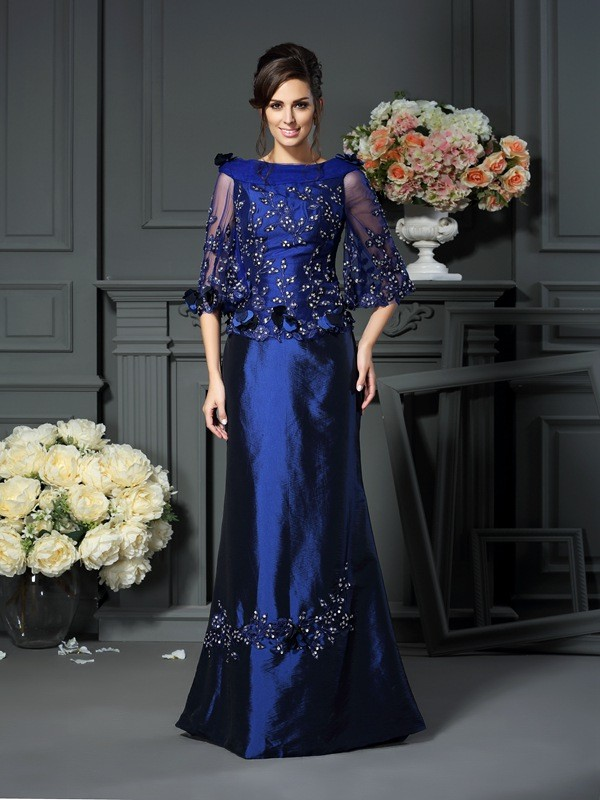 A-Line Scoop Beading 1/2 Sleeves Long Taffeta Dresses