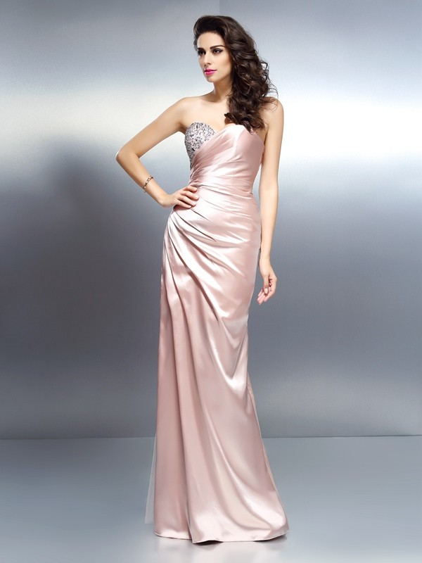 Mermaid Sweetheart Beading Sleeveless Long Elastic Woven Satin Dresses