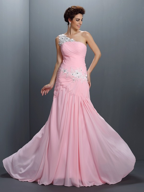 A-Line One-Shoulder Beading Sleeveless Applique Long Chiffon Dresses