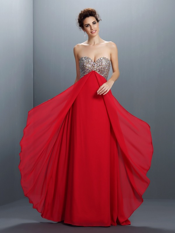 A-Line Sweetheart Beading Paillette Sleeveless Long Chiffon Dresses