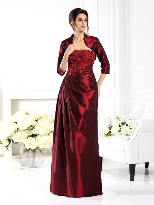 A-Line Strapless Applique 1/2 Sleeves Long Taffeta Dresses