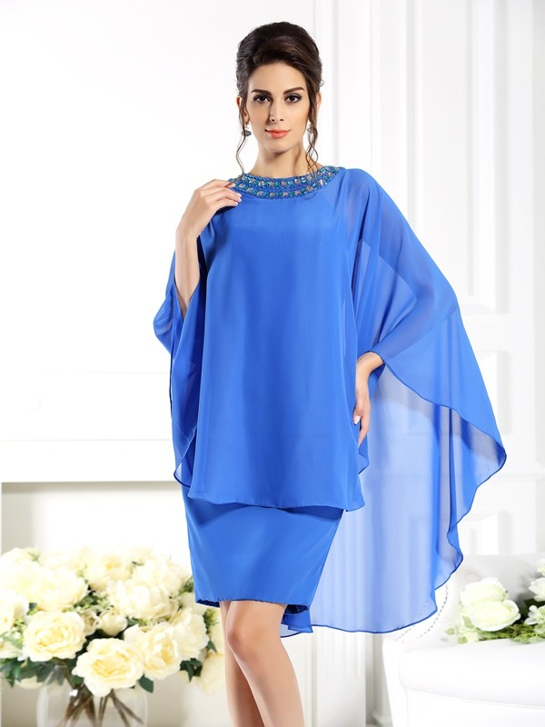 Sheath Bateau 3/4 Sleeves Short Chiffon Dresses