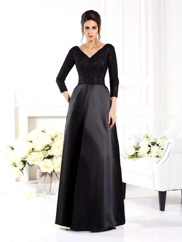 A-Line V-neck Beading 3/4 Sleeves Long Satin Dresses