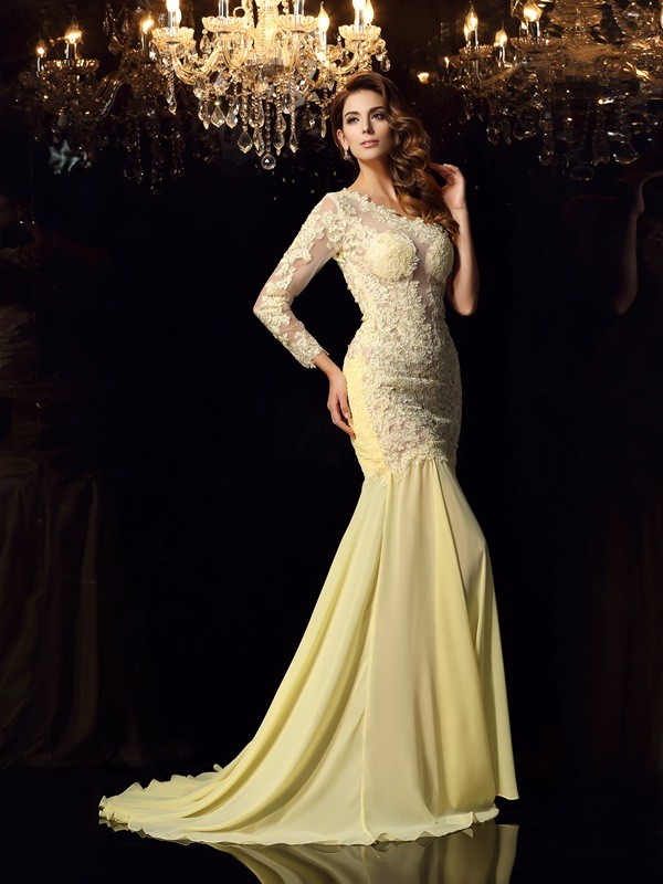 Mermaid One-Shoulder Applique Long Sleeves Long Chiffon Dresses