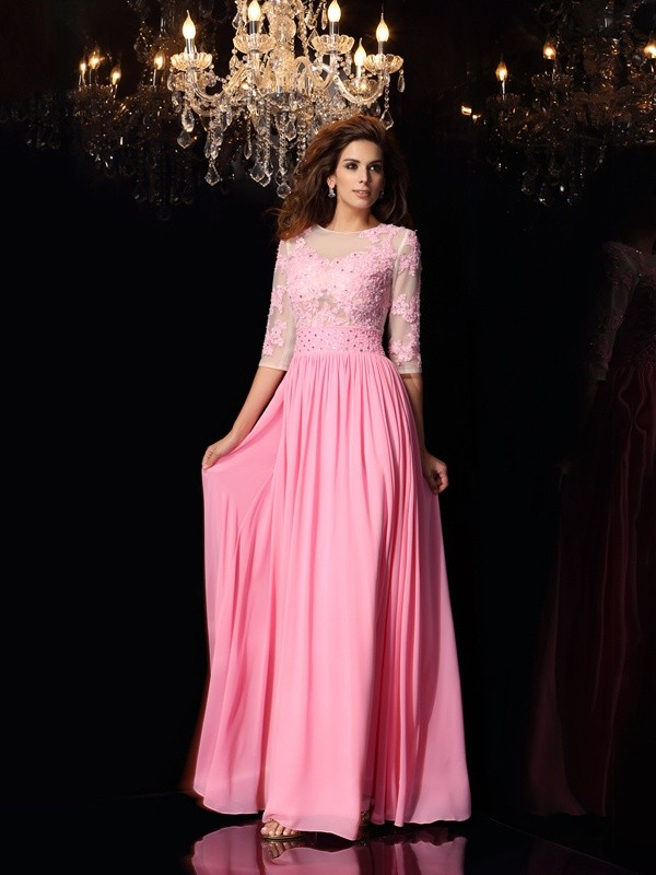 A-Line Scoop Applique 1/2 Sleeves Long Silk like Satin Dresses