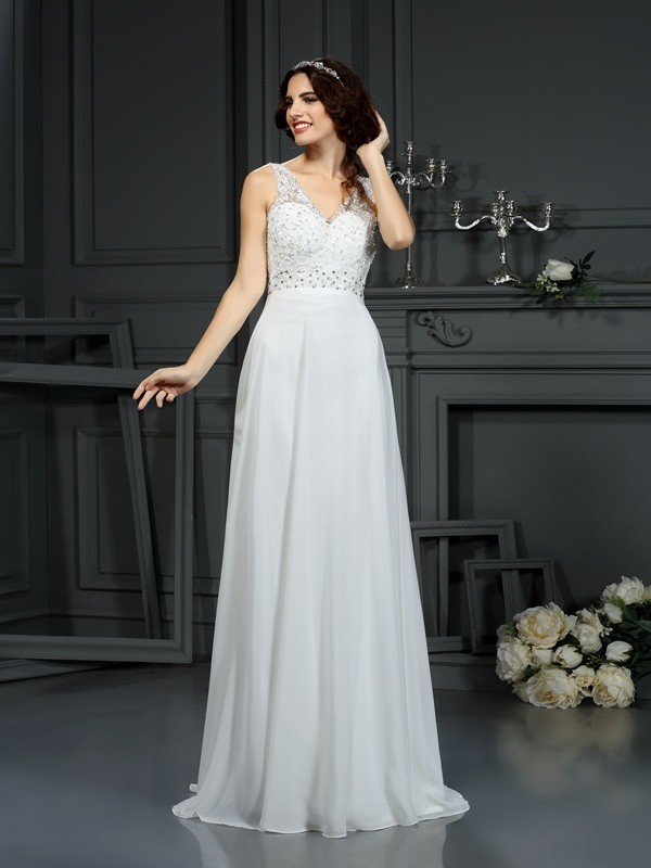 A-Line V-neck Lace Sleeveless Long Chiffon Wedding Dresses