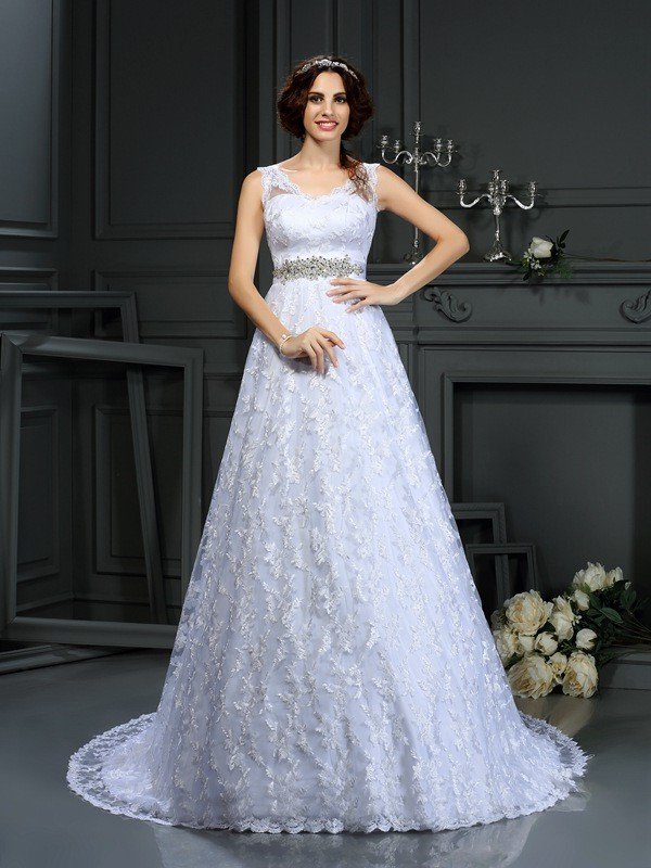 A-Line V-neck Lace Sleeveless Long Satin Wedding Dresses