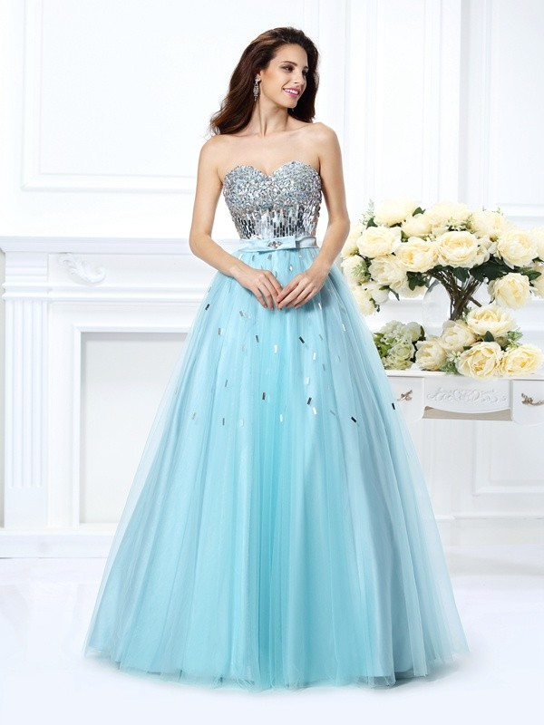 Ball Gown Sweetheart Beading Sleeveless Paillette Long Satin Debs Dress